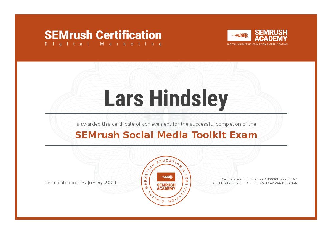Lars Hindsley SEO Certification